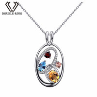 DOUBLE R Topaz Pendants Women 925 Sterling Silver Face Colorful Necklaces Pendants Classic Fine Jewelry Customized