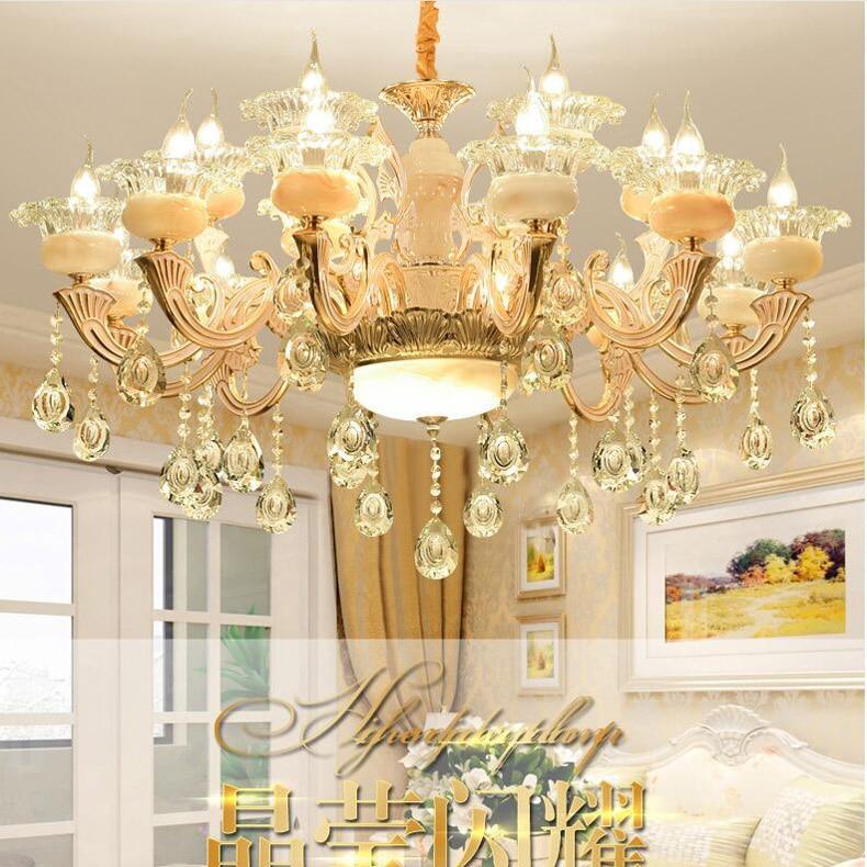 Ceramic Chandelier Luxury Atmosphere Living Room Bedroom Lighting European Pastoral Style Restaurant Crystal Lamps