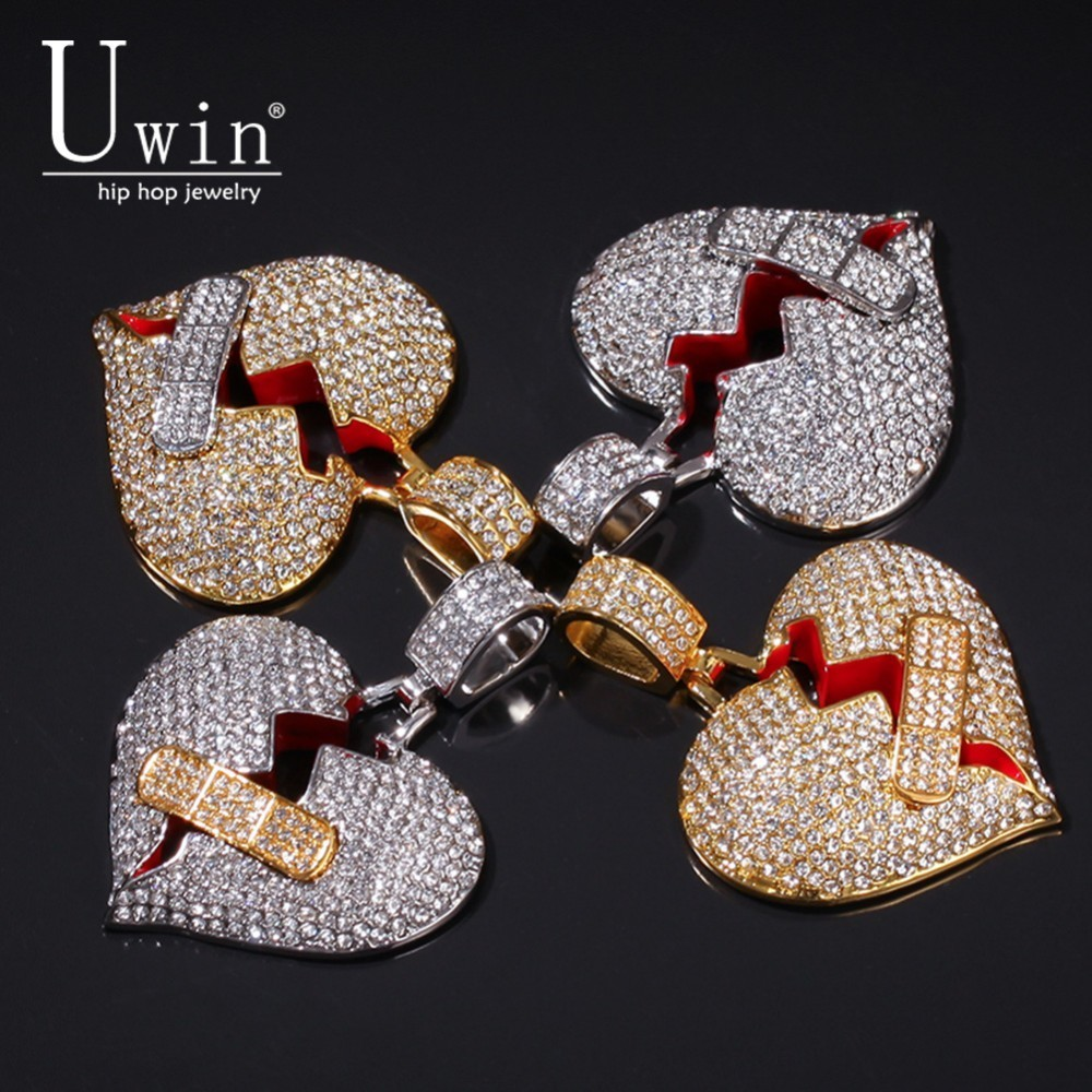 UWIN Broke Heart With Band Aid Necklace&Pendant Rhinestone Iced Out Trendy Rock HipHop Men Jewelry For Gift