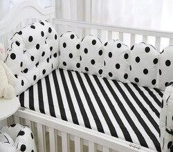 5 Stks/set Baby Beddengoed Sets Bumper Ademend Wasbaar Katoen Gedrukt Crib Baby Bumper Bed 120*60 Rond Laken Baby Beddengoed