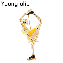 Youngtulip Skating Women Brooches Cute Enamel Pin Unisex Badges Backpack Broches Coat Pins Bijouterie Party Accessories New