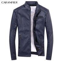 CARANFIER Men PU Leather Jackets Men S Black Red Brown Color Men High Quality Coats Teens