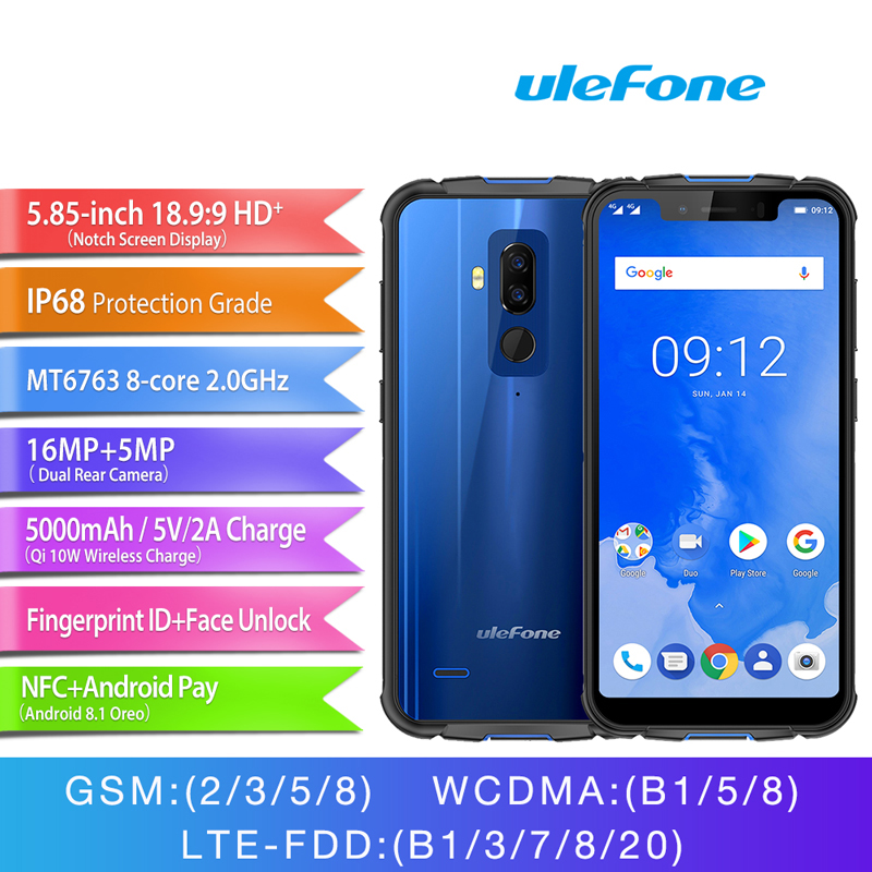 Ulefone Armor 5 Cell Phone 5 85 4GB 64GB Android 8 1 Wireless Charge Face ID
