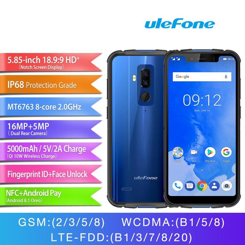 """Ulefone Armor 5 telefon komórkowy 5.85 """"4 GB 64GB Android 8.1 bezprzewodowe ładowanie twarzy ID wodoodporna IP68 telefon komórkowy z NFC otca rdzeń 5000mAh w Telefony Komórkowe od Telefony komórkowe i telekomunikacja na AliExpress - 11.11_Double 11Singles' Day 1"""