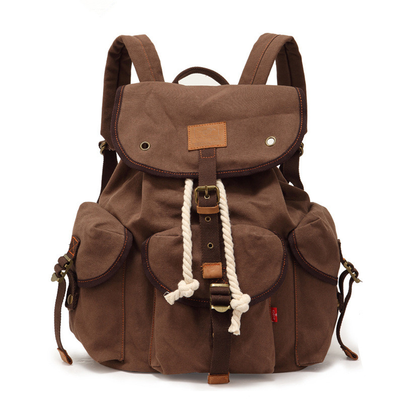 ФОТО New fashion Canvas backpack Leather retro casual men's and women's backpack Computer bag leather 9012#