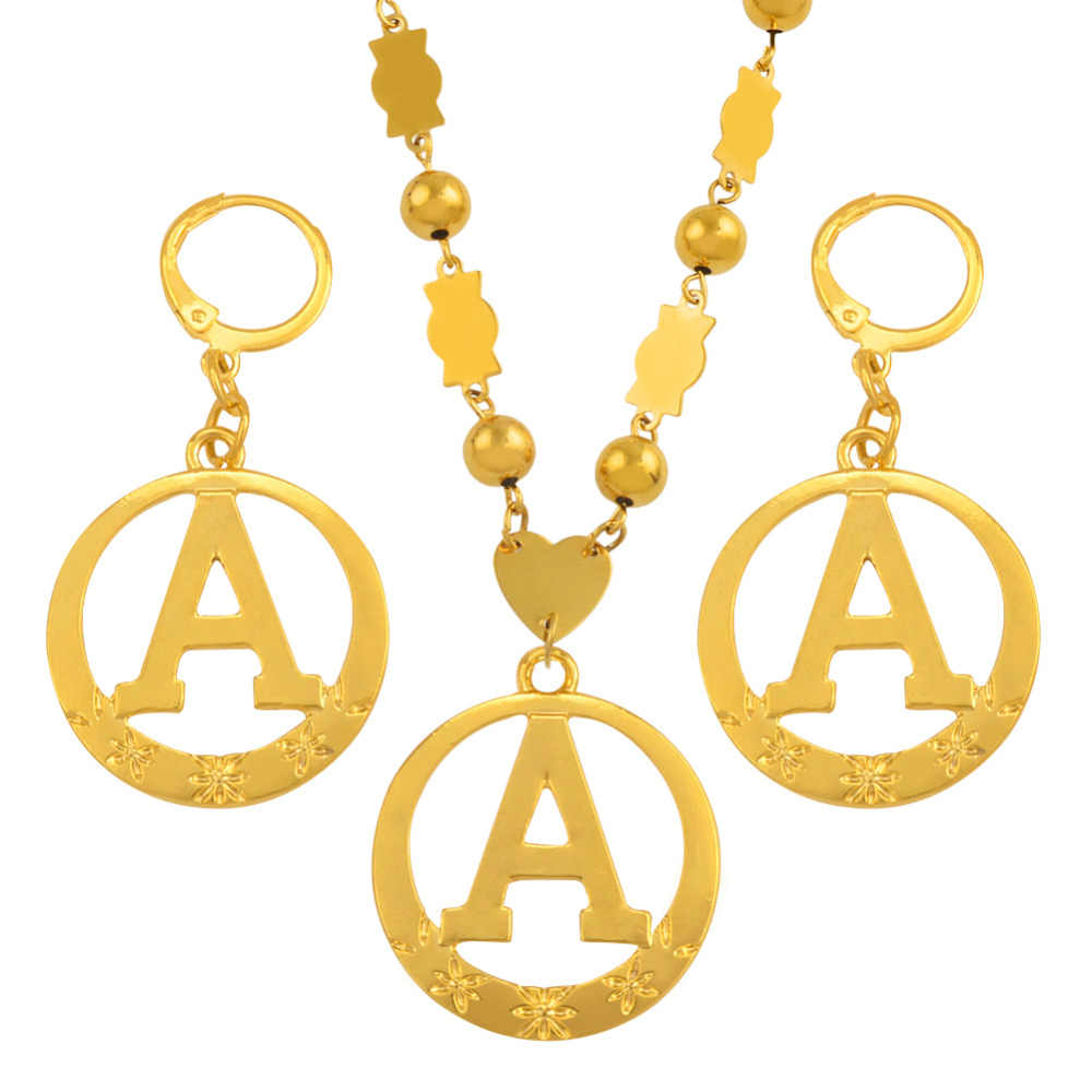 60cm Beads Necklaces Letters Pendant Gold Color Marshall Initial Alphabet Round Ball Chain Micronesia Jewellery #J0066