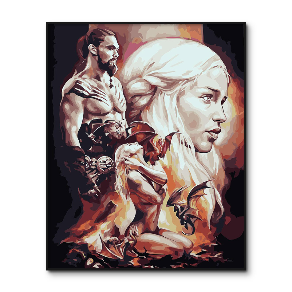 Game Of Thrones Poster Movies Painting By Numbers On Canvas Paint By Number Kits The TV Play Painting By Numbers