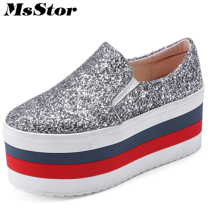 купить MsStor Round Toe Platform Women Flats Casual Fashion Ladies Flat Shoes 2018 Spring Platform Mixed Colors Bling Women Flat Shoes недорого