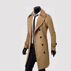 Для мужчин s Тренч 2019 новые модные дизайнерские Для мужчин осень-зима двубортное приталенное пальто для человека с длинным шерстяная