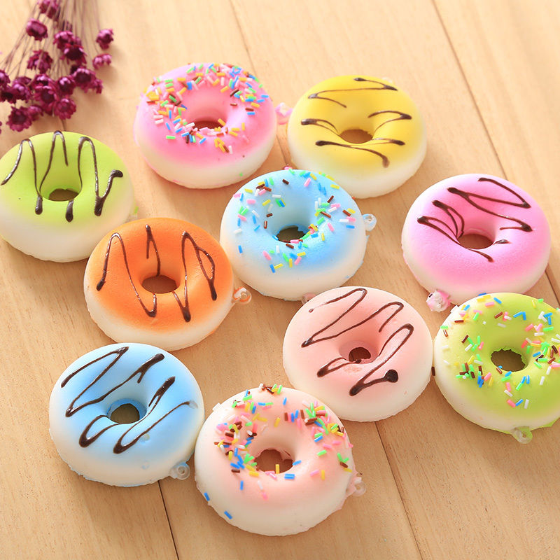 Mobile Phone Straps Responsible Funny Cute Kawaii Charms Squishy Artificial Bread Croissant Loaf Cake Bun Donuts Anti Stress Anxiety Random Style