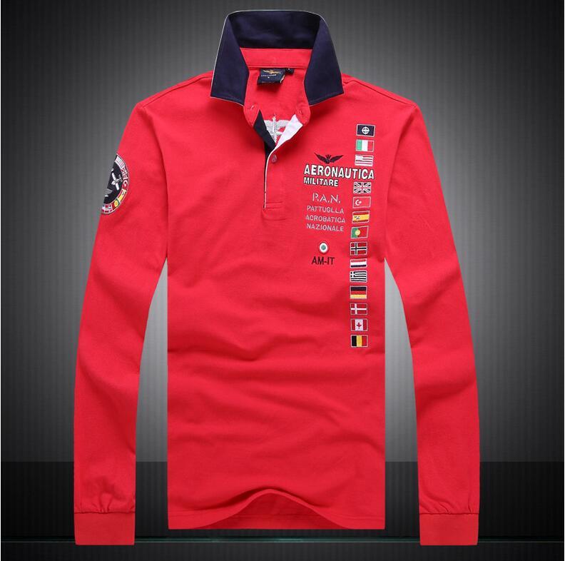 New 2017 brand AERONAUTICA Militare camisa masculina   polo   men Long sleeve shirts,high quality Air force one shark   polos   clothing