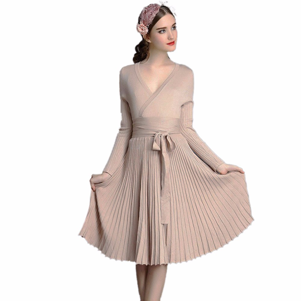 Feitong Autumn Winter Women Sweaters Dresses A-line Deep Belted Pleated Vintage Knitted Vestidos Bodycon Halter Dress