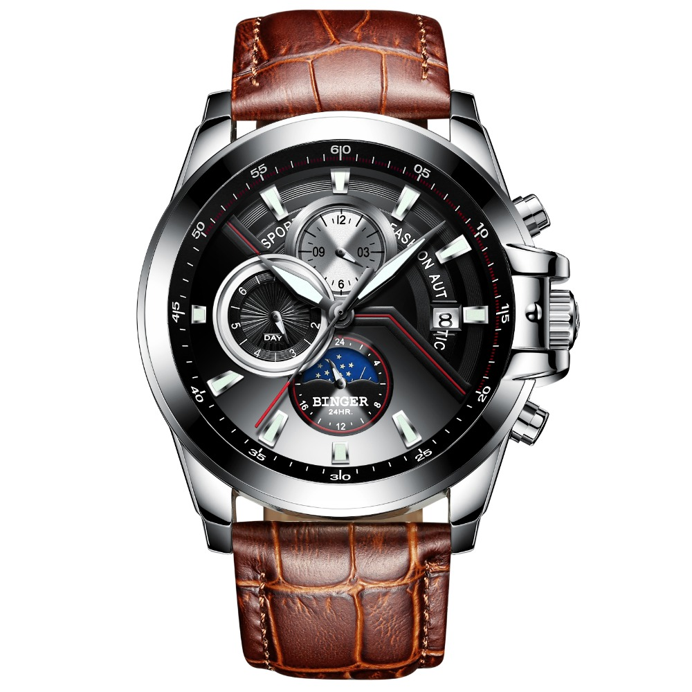 2019 Skeleton watch Switzerland BINGER Fashion Swimming Automatic Watch Men Waterproof Calendar Moon phase Leather band Luminous-in Mechanical Watches from Watches    2