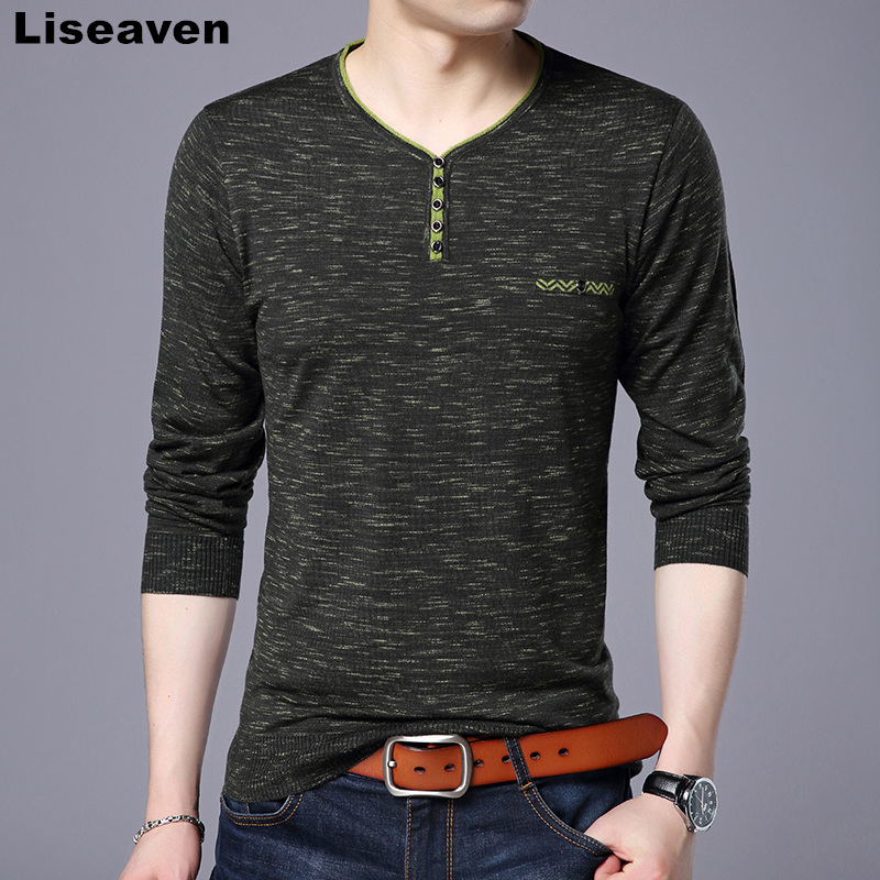 Liseaven Autumn Winter Mens Pullover Sweaters Casual V Neck Sweater Solid Color Male Knitwear Top