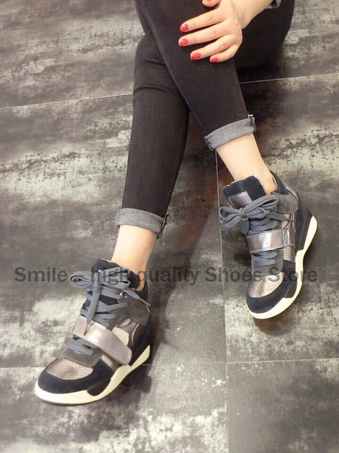 Smile Circle Hot 2017 High Quality Women Wedge High Heel Shoes Height Increasing 7cm Fashion high-top casual shoes