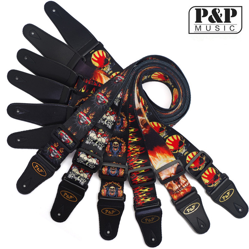 P&P High Quality Adjustable Guitar Strap with Leather Ends Unique Red Flame Print Design S008 MR high quality jacquard strap with leather ends adjustable buckle electric guitar acoustic strap red flame print