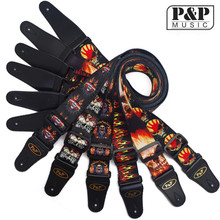 P&P High Quality Adjustable Guitar Strap with Leather Ends Unique Red Flame Print Design S008 MR