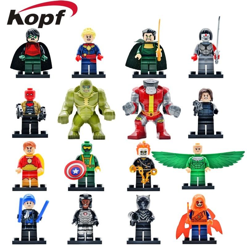 Super Hereos Katana Vulture Ghost Rider Hulk Captain Captain America Black Panther Deadpool Joker Building Blocks Children Toys