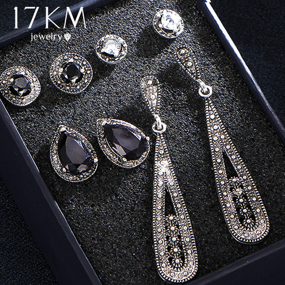17KM Vintage Water Drop Crystal Earrings Set For Woman Black Stone Antique Silver Color Geometric Round Stud Earrings Jewelry silver plated rhinestone geometric stud earrings set