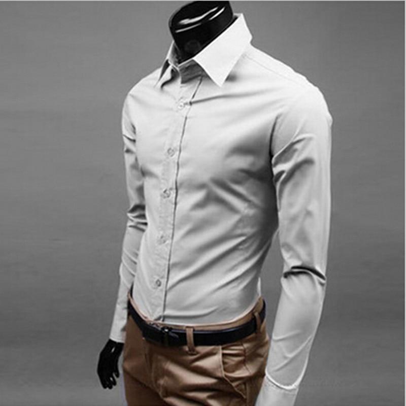 New 2017 men boutique autumn slim fit cotton business shirt/Male pure color lapel leisure long-sleeved shirts/17 color optional