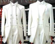 Free shipping ! Men's clothes brand fashion royal men's clothing the groom married set long design wedding dress / M-XXL