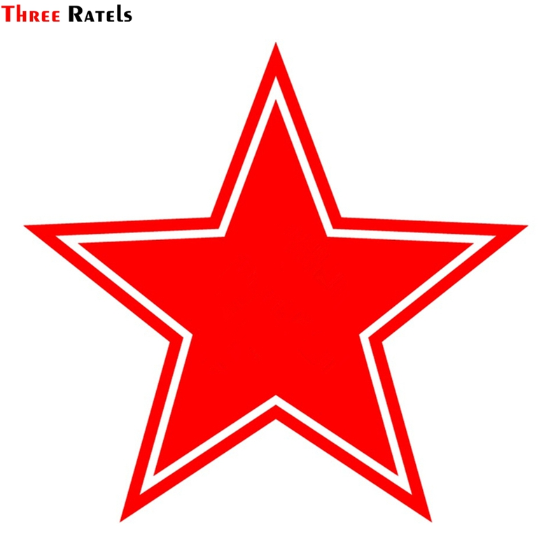Three Ratels TZ-1164 15*15.8cm 1-4 Pieces Car Sticker Red Star For Victory Day Ussr Car Stickers Auto Decals