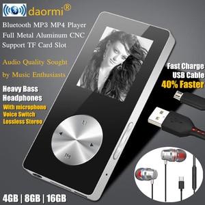 """Image 2 - 1.8 """"bezprzewodowy odtwarzacz Bluetooth HiFi HD MP3 MP4, bezstratny bas radiowy Mic słuchawki, szybkie ładowanie kabla USB, głośnik nagrywanie FM i gniazdo TF"""