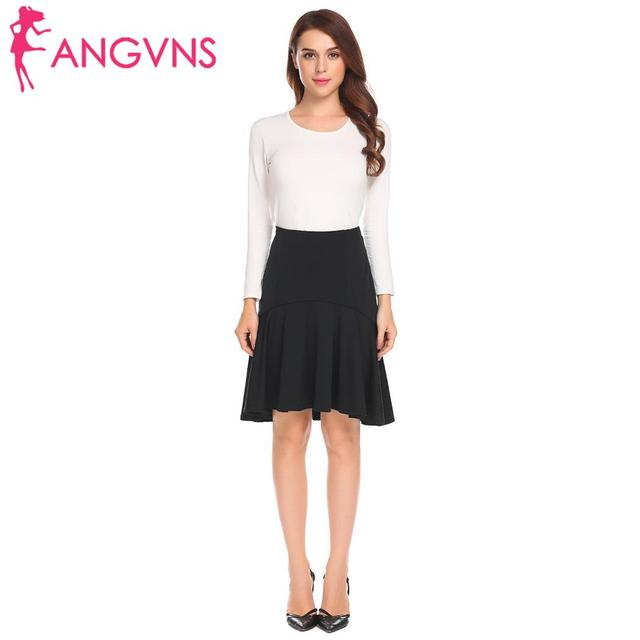 ANGVNS Women Pleated Skirt Ruffles Sexy Solid Irregular High Low Hem High Waist Short skirts Umbrella Skirt 4