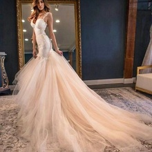 TPSAADE Amazing Lace Mermaid Wedding Dress Chapel Train