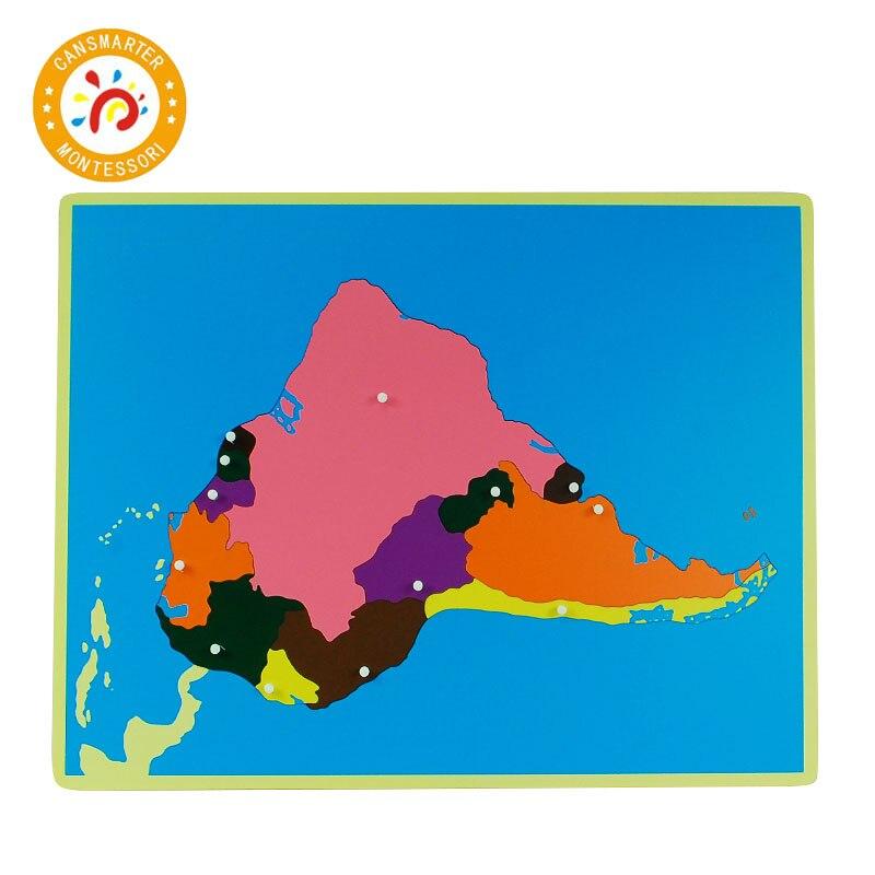 Pièces de couleur Puzzles du monde cartes Montessori avec bouton jeux géographie enfants planche de bois jouets aides pédagogiques Puzzle carte du monde - 4