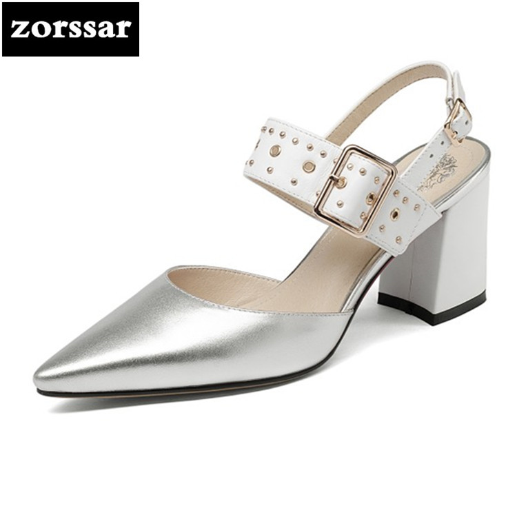 {Zorssar} 2018 Ankle Strap Heels Women Sandals Summer Shoes Women Pointed Toe Chunky High Heels Party Dress Sandals Big Size 43 цена