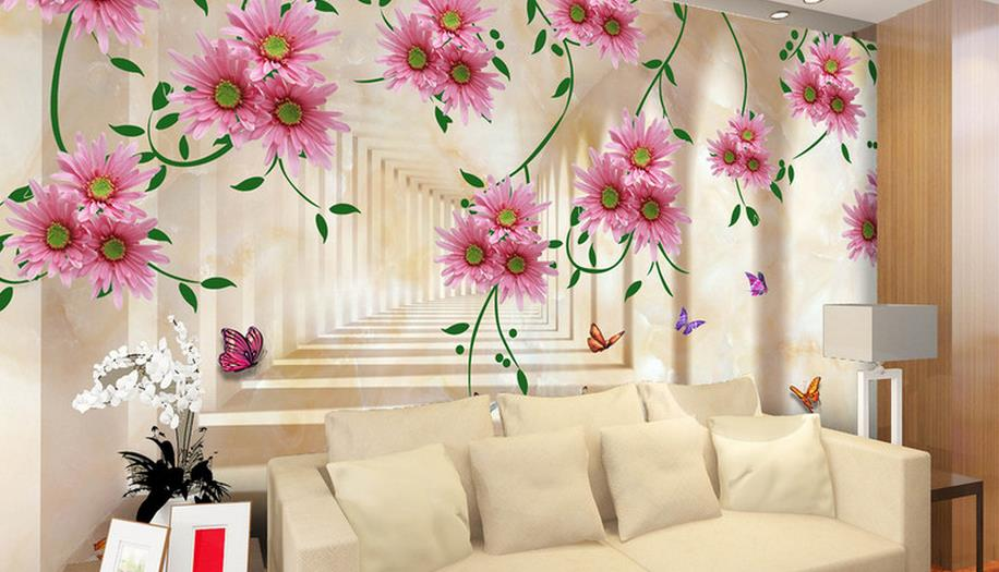 wallpaper for walls 3 d photo wallpaper Pink dream flower wallpapers for living room wall murals room Background decoration shinehome lovely lily blossom flower wallpaper for bedroom murals roll for 3d walls wallpapers for 3 d living room wall paper