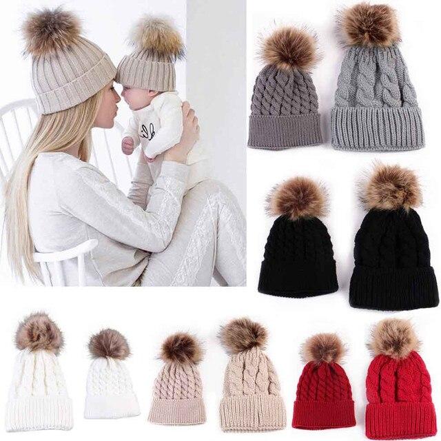 NOUS Maman Et Bébé Tricot Garder Chapeau Chaud Famille Correspondant Laine  Casquettes Femme Hiver Chapeau Nouveau 88800443300