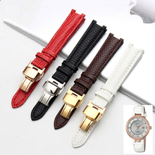 Genuine Leather Watch band Strap14*8mm Concave interface replacement ceramic wristband bracelet