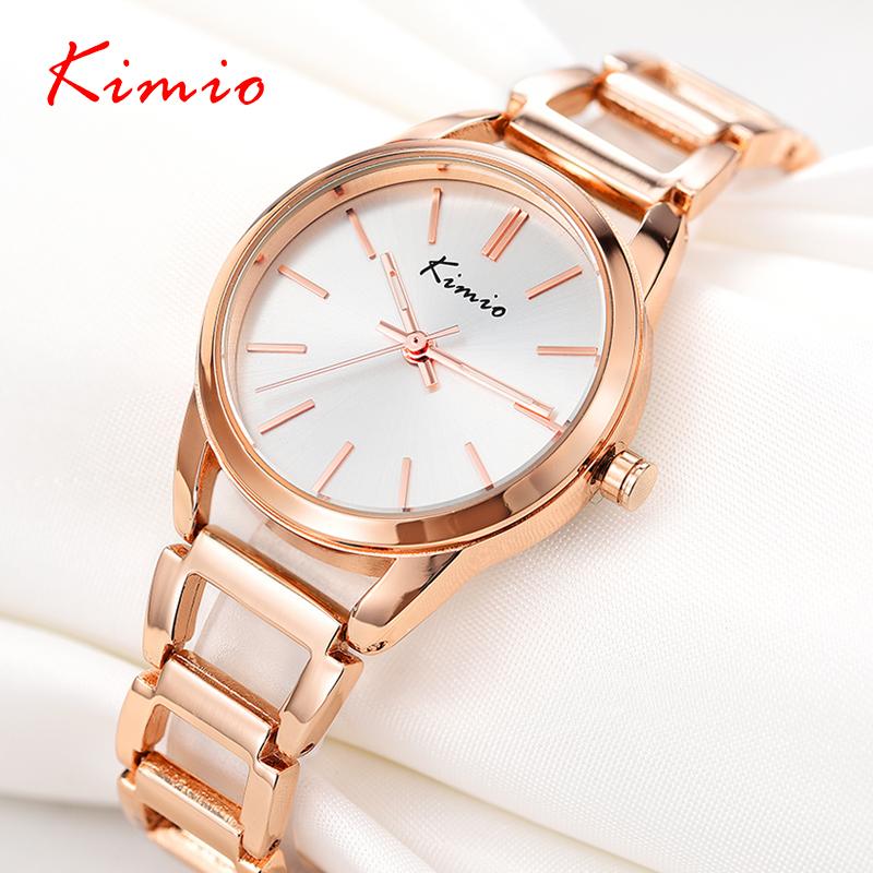 Prix pour KIMIO Femmes Montres Mode Coréenne Chaîne En Métal Bracelet Quartz Lady Montre-Bracelet Bijoux Table zegarek damski relojes mujer