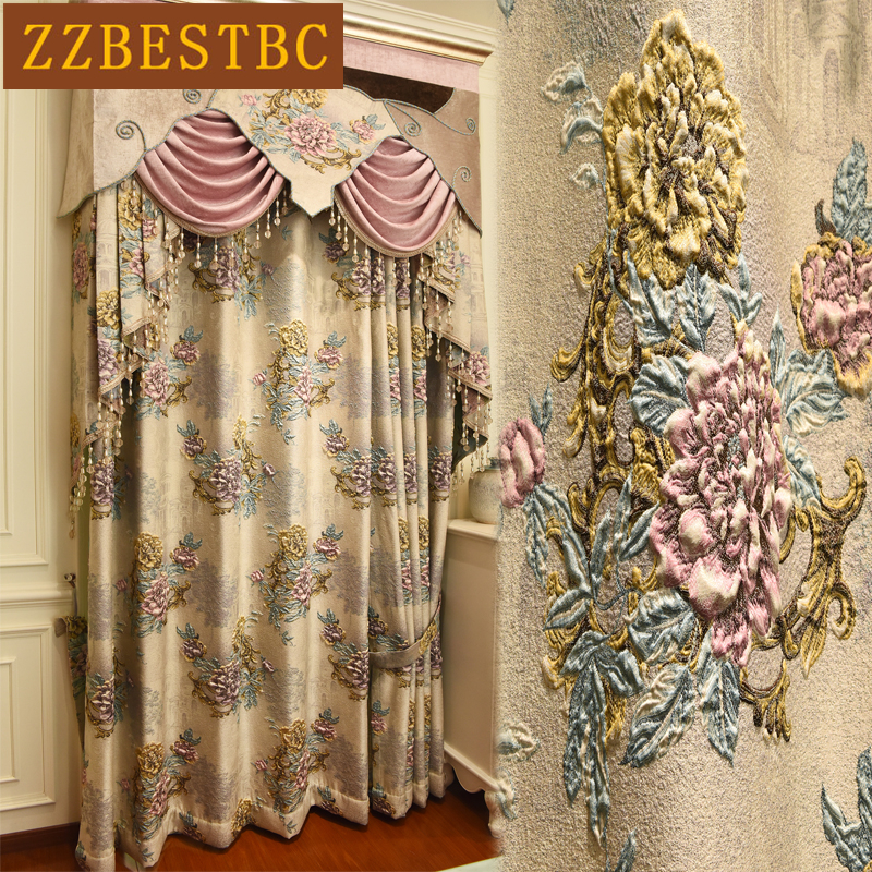 Beige European top royal villa blackout curtains for living room high quality Thicken 4D jacquard bedroom hotel