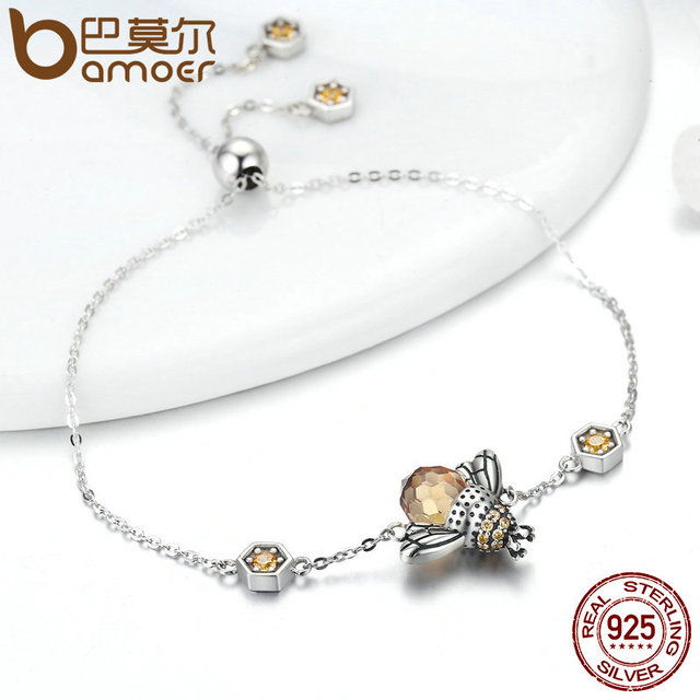 Dancing Honey Bee Sterling Silver Bracelet