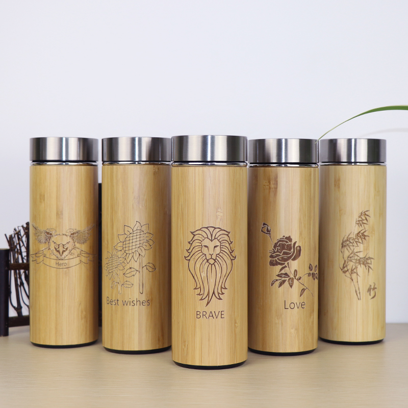 400ml Bamboo travel Thermos Cup Stainless Steel for water Vacuum Flasks coffee insulated keep warm tea
