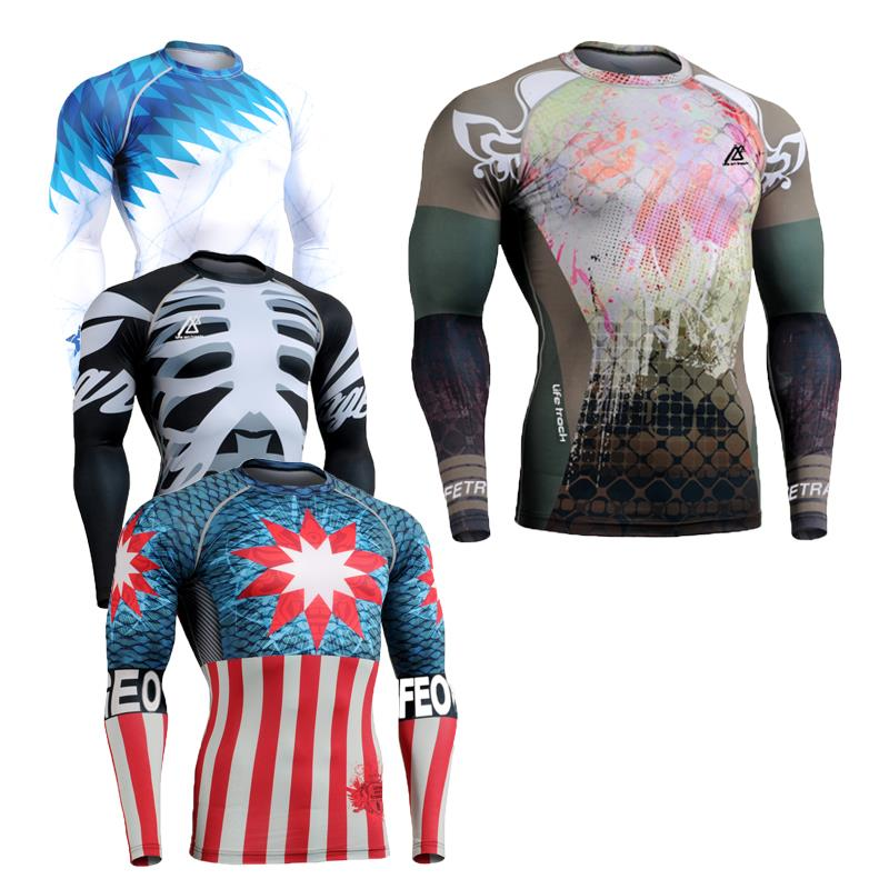 Hot 2016 New Mans 3D Printing Tights Compression Shirt Mens Sports Quick Dry Workout Fitness Man Training Body Building Clothing - ZEOINU store