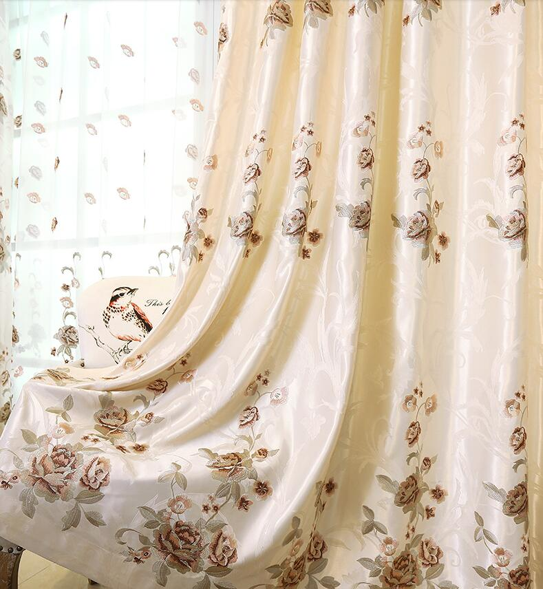 FYFUYOUFY High grade embroidery curtains for living room florals tulle curtains for bedroom Shading cloth curtain French window in Curtains from Home Garden