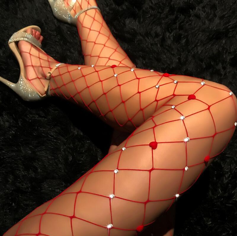 7a1dd0f3b 2018 Sexy Diamond Womens red color Fishnet Tights Mesh Pantyhose Rhinestone  Nylons Lady Stockings Shiny pantyhose
