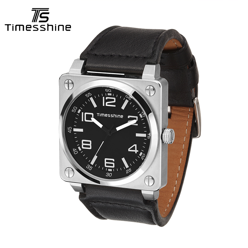 Timesshine Casual Watch Men Luxury Brand Quartz Military Sports Watch Genuine Leather Men's Wristwatch Relogios Masculino FW08 timesshine women watch quartz watch