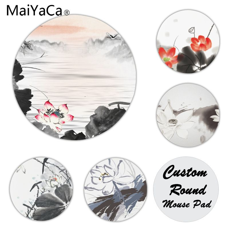 MaiYaCa Non Slip PC Chinese style lotus ink painting Customized laptop Gaming mouse pad Size for 20x20cm 22x22cm Round Mousemats