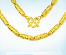 Pure Yellow Gold cylinder chain Necklace/ 24K 999 gold Domineering Necklace 9g