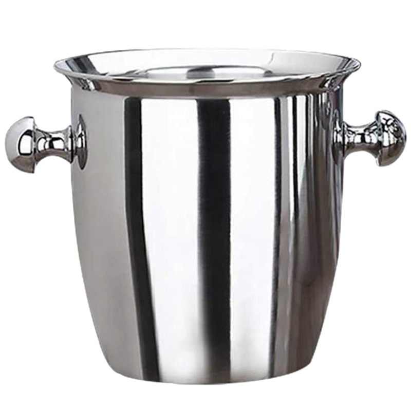 New Stainless Steel Thickened Red Wine Ice Pail Cooler Box Portable Champagne Ice Bucket Serveware for Party Home Reception