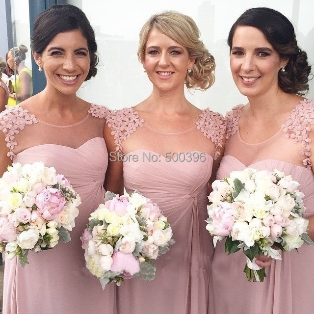 Beautiful Appliques Cap Sleeves Sexy Nude Back Pink Bridesmaid Dress