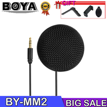 BOYA BY-MM2 Mini Stereo Omnidirectional Conderser Microphone w/ Furry Windscreen for DSLR Camera Smartphone PC Tablet