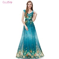 Evening Dresses HE09641PK Ever Pretty Free Shipping V Neck Sexy Printed Floral Lace Long 2015