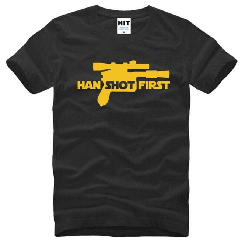 Летний стиль Хан выстрелил первым футболки Для мужчин хлопок короткий рукав Забавный Звездные войны Для мужчин футболка Мода кино вершина ...