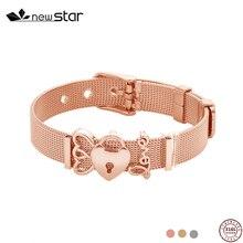 все цены на Gold Stainless Steel Mesh Charm Bracelet Set Love Heart Key Anchor Pandor Bracelet Crystal Charm Bangle